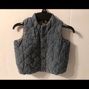 Baby Gap blue chambray vest size 0-6 mos.
